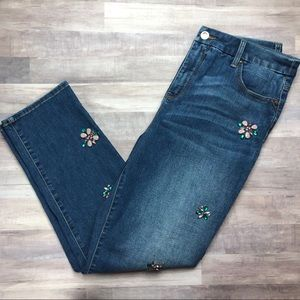 Chico's Embellished Girlfriend Ankle Jeans